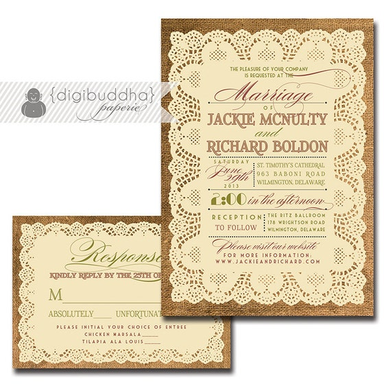Lace Burlap Wedding Invitation Response Card 2 Piece Wedding Suite