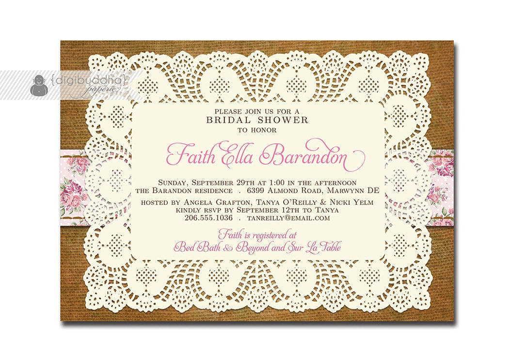 Cheap Shabby Chic Wedding Invitations: Boho Chic Bridal Shower Invitation Shabby Chic Lace Burlap