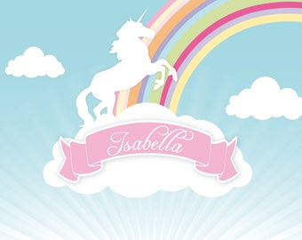 RAINBOW & UNICORN Backdrop Printable Artwork - Personalized for your Birthday Party