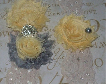 Sunshine and Gray Garter Set,Moonlight Waltz,Soft Yellow and Light Gray Garter Set,Wedding Garter SetWedding Sale