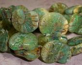 Green Bead Ammonite 16x14mm Czech Glass Nautilus Brown Blue Shell FOSSIL (4)
