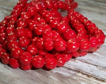 Red Czech Glass 8mm Melon Bead Gold Marbling VINE RIPENED (20)