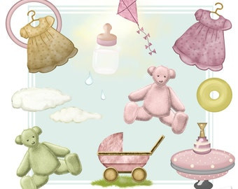 Baby Girl Clipart, Baby Clipart, New Born Clipart, Pink Clipart, Instant Download