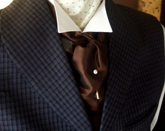 Victorian Style Cravat Brown Taffeta