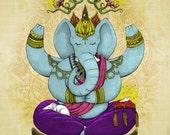 Ganesh the Sage Elephant and Mouse Art Print