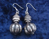 Beautiful  Antique Silver Earrings Dangling Style German Silver Tribe Beads