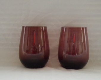 Mid Century Amethyst Purple Glassware/Vintage Purple Drinking Glass Set of 2