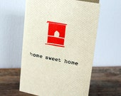 Birdhouse, home sweet home card - Black gocco screen-printed on brown ribbed kraft card
