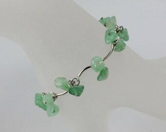 Chunky green jade charm bracelet Bridesmaids gifts Free US Shipping handmade Anni Designs