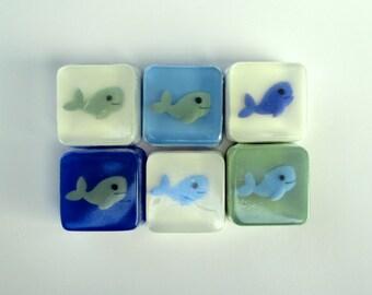 24 Aqua, Mint Green, or Blue Whale Soap Favors