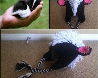 Crochet Skunk Beanie/Hat
