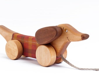 Wooden Dog On Wheels, Personalized Pull Along Dachshund Toy, Safe Baby Toys