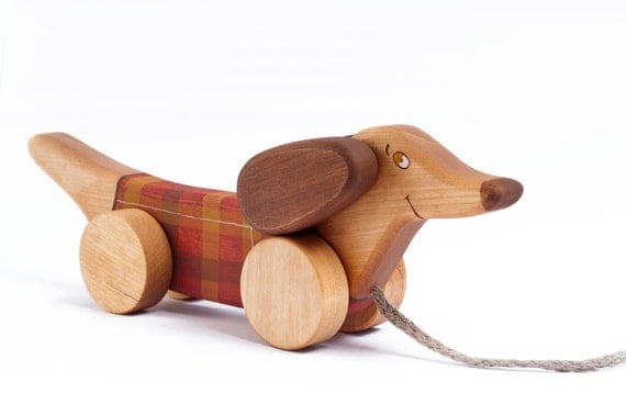 Pull Dog, Wooden Toy, Sausage Dog, Pull Toy