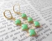 Mint Green Vintage Glass Stones Earrings
