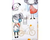Girl with Dog and Bike Light Switch Plate Cover / Tween Girls Room Wall Decor /  Playroom / Japanese Kawaii