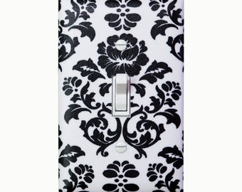 Damask Light Switch Plate Cover / Black and White / Baby Girl Nursery Decor / Teen Girl / Bathroom