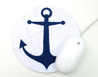 Anchor Mouse Pad / Nautical Navy Blue and White / Round Mousepad / Office Home Decor / Slightly Smitten Kitten