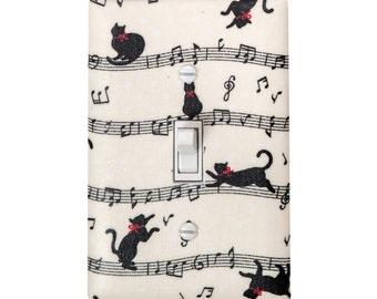 Cat Music Light Switch Plate Cover / Kids Room Nursery Decor / Japanese Import Fabric / By Slightly Smitten Kitten Designs