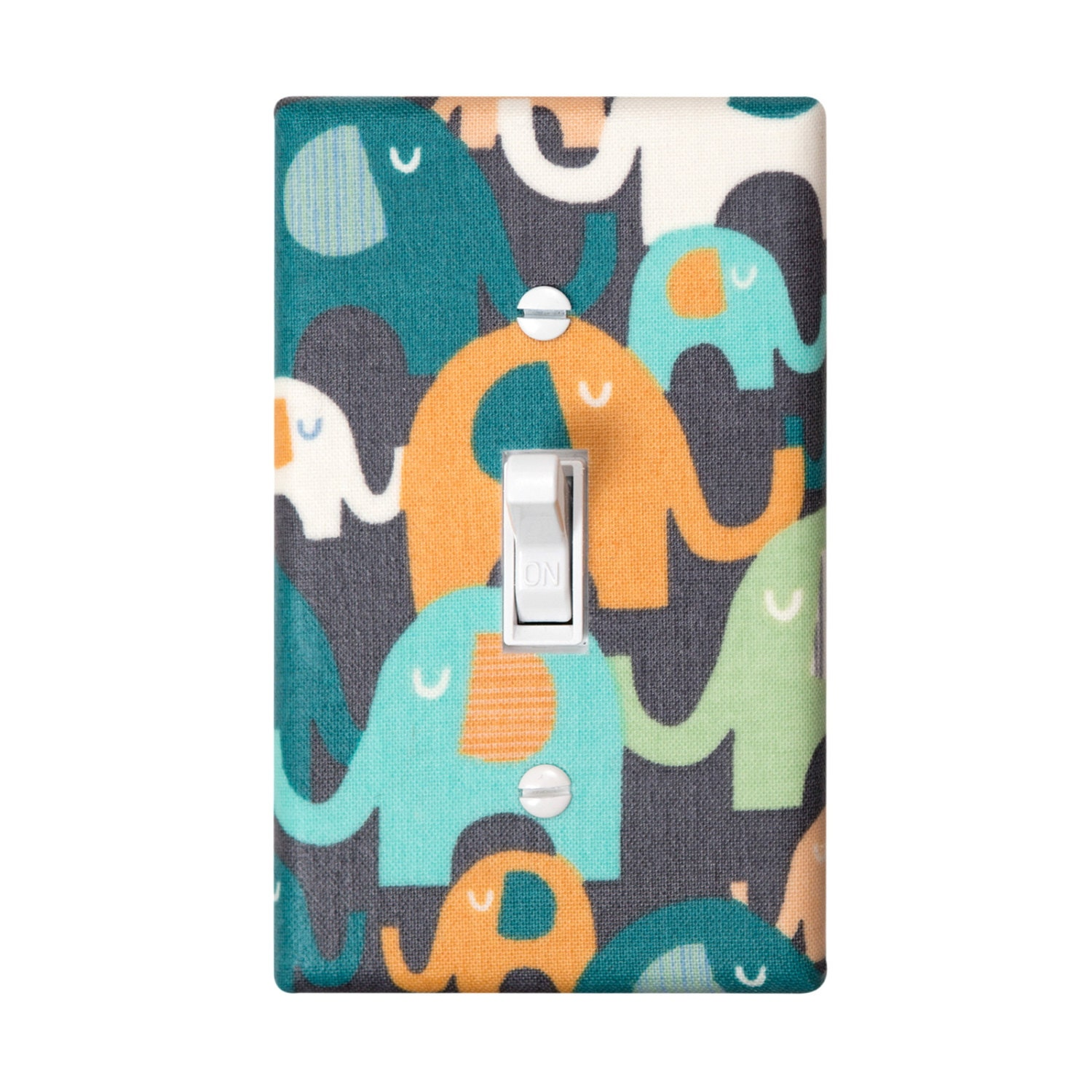 Elephant Light Switch Plate Cover Gray Orange And By
