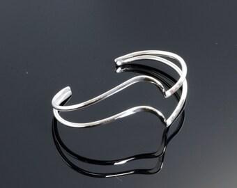 Cuff Bracelet - Double Wave Cuff - Argentium Sterling Silver - Handmade