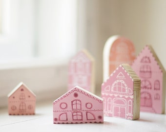 SET of 6 - Hand painted wooden village, miniature village, hand painted house, wood block toy house, little wooden houses, decorative house