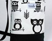 HEAVY DUTY Handmade Cross-Body Purse in Premier Prints Hooty Owl Black/White with Zigzag Chevron...by Annika in Chautauqua
