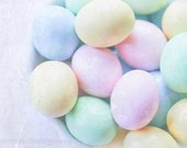 Easter Eggs Spring Rainbows Pastel Colors Pink Baby Blue Mint Green Easter Basket Whimisical Nursery Decor Easter,  Fine Art Print
