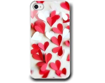 Hearts, iPhone 6  iPhone 5 4 4s Case, Valentine Hearts, Love, Red White, Romance, Cell Phone Case, Accessory for iPhone 6  iPhone 5 4 4s