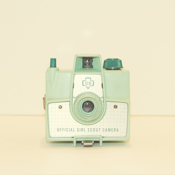 Girl Scout Vintage Camera Pastel Mint Green Hipster Style