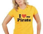 I Love (Heart) my Pirate shirt - Soft Cotton T Shirts for Women, Men/Unisex, Kids
