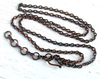 Solid Copper Chain with Handmade Clasp for Your Pendant 18inch