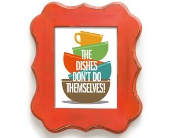 Kitchen Art, Wall Print, Washing Dishes, Colorful Kitchen Decor