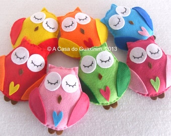 Party Favor - Rainbow Colors Owls - Set of 7