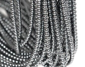3mm Noir Black Hematite Gemstone Black Round Loose Beads 16 inch Full Strand (90147925-107-3mm F)