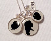 Three Child or Pet Silhouette Necklace with sterling silver stamped heart and pearl