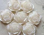 17 mm Shiny Acrylic Rose Cabochons of  Beige Colour (.tm)