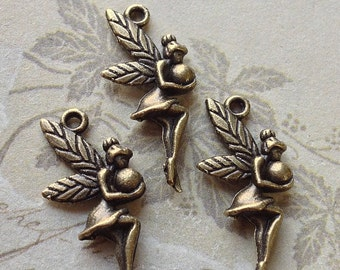 12 x 26 mm Antique Bronze Fairy Lady Charm Pendants (.tct)