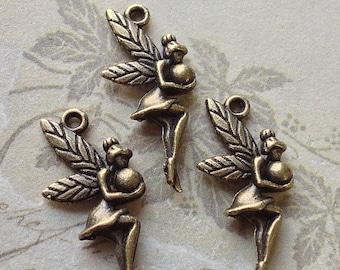 12 x 26 mm Antique Bronze Fairy Lady Charm Pendants (.tct)