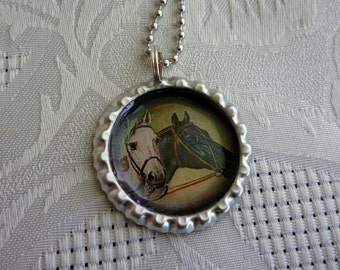 Bottle Cap Pendants-Wine Glass Charm-Magnet-Key Chain-Horses-Equestrian-Victorian-(A166)  Buy 3 Get 1 Free on all Bottle Caps