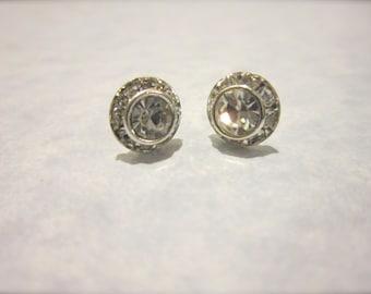 Silver Rhinestone Halo Stud Earrings