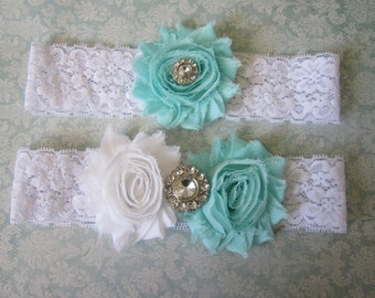 Aqua & White Wedding Garter Set - Choose Rhinestone or Pearl