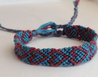 Dark Pink Hearts on Teal - Friendship Bracelet