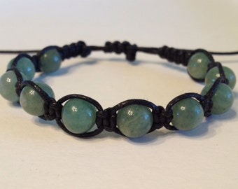 Dark Green Aventurine Beads on Black Waxed Cotton