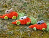 Needle Felted Easter Bunny In Crocheted Carrot Race Car Handmade - BondurantMountainArt