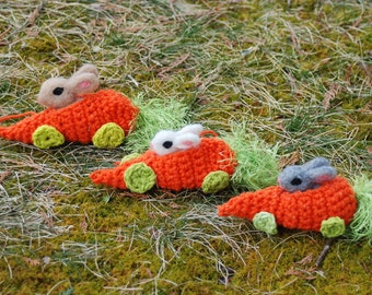 Needle Felted Easter Bunny In Crocheted Carrot Race Car Handmade
