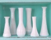 White Milk Glass Vases (set of 6)