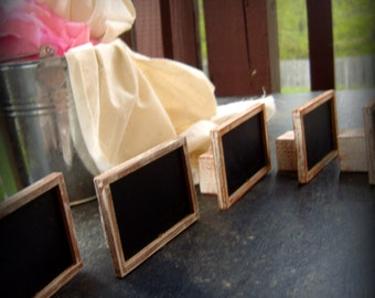 """PLEASE READ DETAILS before purchasing* Set of 5 mini chalkboard with stands You choose color 2x3 inches """"tiny"""""""