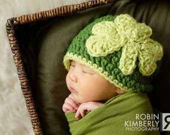 Feelin' Lucky Shamrock, Clover, St. Patricks Day Crochet Hat All Sizes