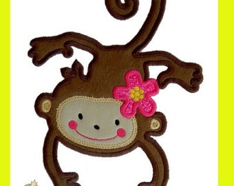 Flower Monkey Applique design