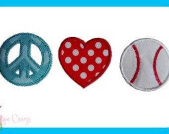 Peace, Love & Baseball Applique design